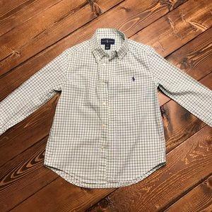 Polo Long Sleeve Button Down Plaid Boys Sz 6